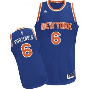 New York Knicks #6 Adidas Road Bleu royal Swingman Maillot d'équipe de NBA Le meilleur cadeau - Kristaps Porzingis pour Homme