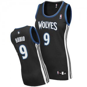 Maillot Authentic Minnesota Timberwolves NBA Alternate Noir - #9 Ricky Rubio - Femme