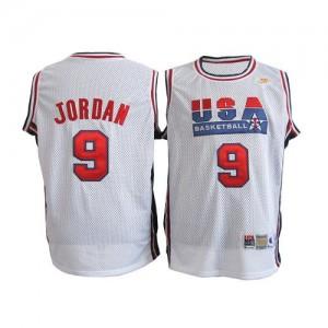 Team USA #9 Nike Throwback Blanc Authentic Maillot d'équipe de NBA achats en ligne - Michael Jordan pour Homme