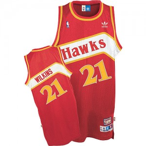 Atlanta Hawks #21 Adidas Throwback Rouge Authentic Maillot d'équipe de NBA Braderie - Dominique Wilkins pour Homme