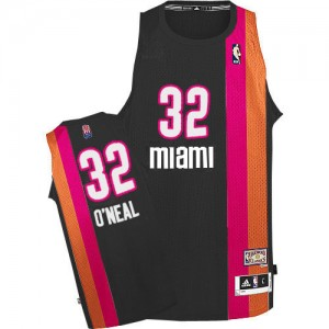 Maillot Adidas Noir ABA Hardwood Classic Authentic Miami Heat - Shaquille O'Neal #32 - Homme