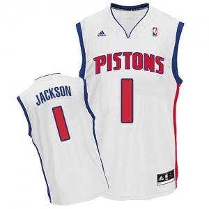 Detroit Pistons #1 Adidas Home Blanc Swingman Maillot d'équipe de NBA Discount - Reggie Jackson pour Homme