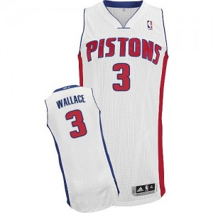 Maillot NBA Blanc Ben Wallace #3 Detroit Pistons Home Authentic Homme Adidas