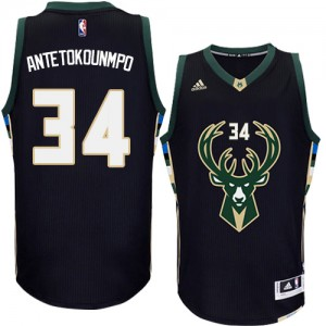 Maillot NBA Authentic Giannis Antetokounmpo #34 Milwaukee Bucks Alternate Noir - Homme