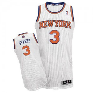 Maillot NBA New York Knicks #3 John Starks Blanc Adidas Authentic Home - Homme