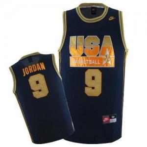 Team USA #9 Nike No. d'or bleu marine Swingman Maillot d'équipe de NBA pas cher - Michael Jordan pour Homme