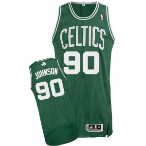 Maillot Adidas Vert (No Blanc) Road Authentic Boston Celtics - Amir Johnson #90 - Homme