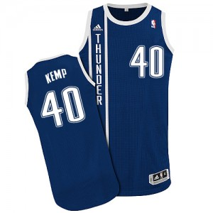Oklahoma City Thunder Shawn Kemp #40 Alternate Authentic Maillot d'équipe de NBA - Bleu marin pour Homme