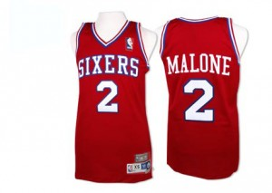 Philadelphia 76ers Moses Malone #2 Throwback Authentic Maillot d'équipe de NBA - Rouge pour Homme