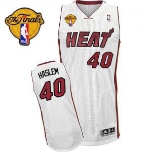 Miami Heat Udonis Haslem #40 Home Finals Patch Authentic Maillot d'équipe de NBA - Blanc pour Homme