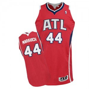 Maillot Authentic Atlanta Hawks NBA Alternate Rouge - #44 Pete Maravich - Homme