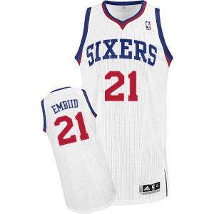 Maillot Adidas Blanc Home Authentic Philadelphia 76ers - Joel Embiid #21 - Homme