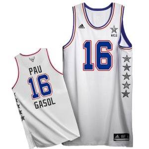 Maillot NBA Blanc Pau Gasol #16 Chicago Bulls 2015 All Star Authentic Homme Adidas