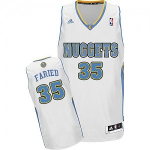 Maillot NBA Denver Nuggets #35 Kenneth Faried Blanc Adidas Swingman Home - Homme