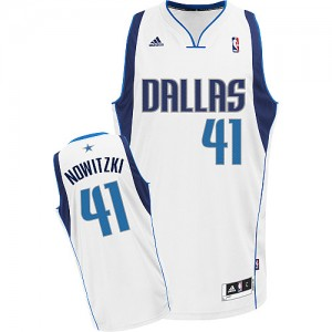 Maillot Swingman Dallas Mavericks NBA Home Blanc - #41 Dirk Nowitzki - Enfants