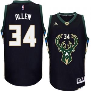 Maillot NBA Noir Ray Allen #34 Milwaukee Bucks Alternate Authentic Homme Adidas
