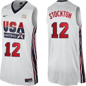 Maillots de basket Authentic Team USA NBA 2012 Olympic Retro Blanc - #12 John Stockton - Homme