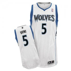 Maillot Adidas Blanc Home Authentic Minnesota Timberwolves - Gorgui Dieng #5 - Homme