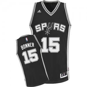 Maillot NBA Noir Matt Bonner #15 San Antonio Spurs Road Swingman Homme Adidas