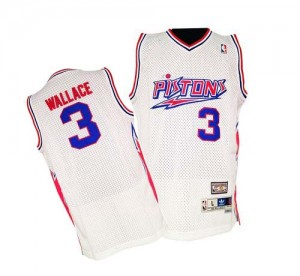 Maillot NBA Blanc Ben Wallace #3 Detroit Pistons Throwback Authentic Homme Adidas