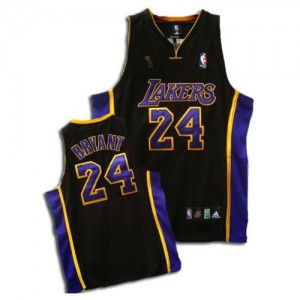 Maillot Adidas Noir / Violet Champions Patch Authentic Los Angeles Lakers - Kobe Bryant #24 - Homme