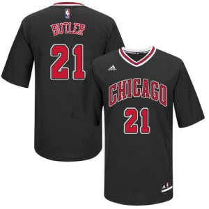 Maillot Authentic Chicago Bulls NBA Short Sleeve Noir - #21 Jimmy Butler - Homme