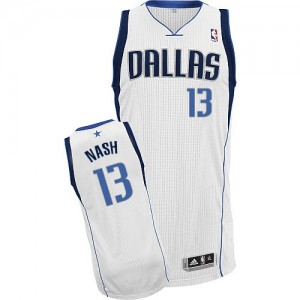 Maillot Adidas Blanc Home Authentic Dallas Mavericks - Steve Nash #13 - Homme