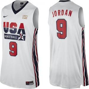 Team USA #9 Nike 2012 Olympic Retro Blanc Swingman Maillot d'équipe de NBA en soldes - Michael Jordan pour Homme
