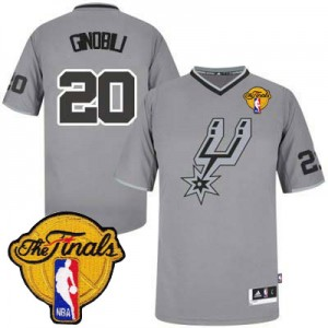 Maillot NBA Authentic Manu Ginobili #20 San Antonio Spurs 2013 Christmas Day Finals Patch Gris - Homme