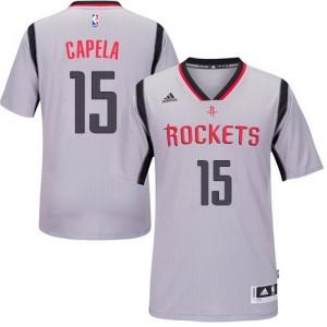 Maillot Authentic Houston Rockets NBA Alternate Gris - #15 Clint Capela - Homme