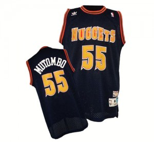 Maillot NBA Authentic Dikembe Mutombo #55 Denver Nuggets Throwback Bleu marin - Homme