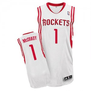 Maillot NBA Houston Rockets #1 Tracy McGrady Blanc Adidas Authentic Home - Homme