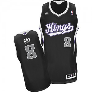 Maillot NBA Noir Rudy Gay #8 Sacramento Kings Alternate Swingman Homme Adidas