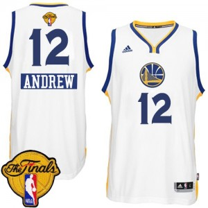 Maillot Adidas Blanc 2014-15 Christmas Day 2015 The Finals Patch Swingman Golden State Warriors - Andrew Bogut #12 - Homme