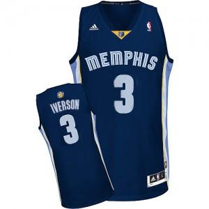 Maillot Adidas Bleu marin Road Authentic Memphis Grizzlies - Allen Iverson #3 - Homme