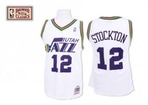 Maillot NBA Blanc John Stockton #12 Utah Jazz Throwback Authentic Homme Mitchell and Ness