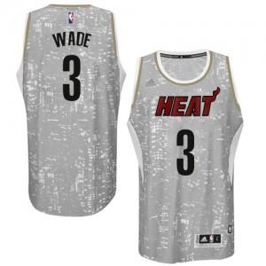 Maillot NBA Miami Heat #3 Dwyane Wade Gris Adidas Swingman City Light - Homme
