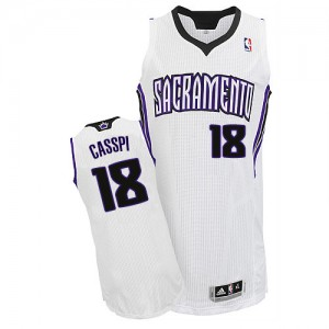Maillot NBA Sacramento Kings #18 Omri Casspi Blanc Adidas Authentic Home - Homme