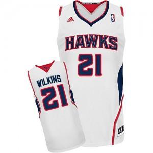 Atlanta Hawks #21 Adidas Home Blanc Swingman Maillot d'équipe de NBA préférentiel - Dominique Wilkins pour Homme