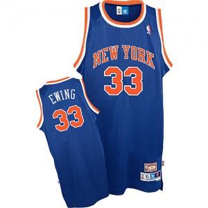 New York Knicks #33 Adidas Throwback Bleu royal Authentic Maillot d'équipe de NBA pour pas cher - Patrick Ewing pour Homme