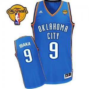 Maillot Adidas Bleu royal Road Finals Patch Swingman Oklahoma City Thunder - Serge Ibaka #9 - Homme