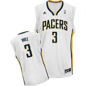 Maillot NBA Blanc George Hill #3 Indiana Pacers Home Swingman Homme Adidas
