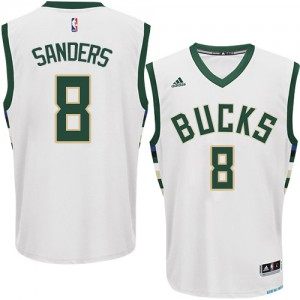 Maillot NBA Milwaukee Bucks #8 Larry Sanders Blanc Adidas Authentic Home - Homme