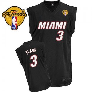 Maillot Adidas Noir Flash Fashion Finals Patch Authentic Miami Heat - Dwyane Wade #3 - Homme
