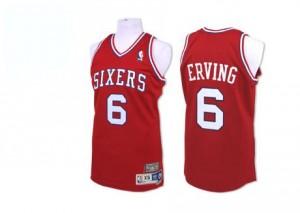 Philadelphia 76ers Julius Erving #6 Throwack Authentic Maillot d'équipe de NBA - Rouge pour Homme