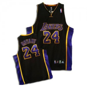 Maillot NBA Noir / Violet Kobe Bryant #24 Los Angeles Lakers Authentic Enfants Adidas