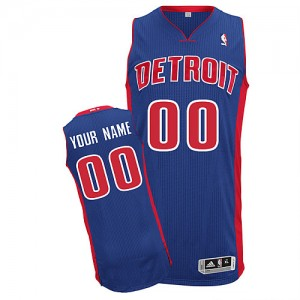 Maillot NBA Bleu royal Authentic Personnalisé Detroit Pistons Road Homme Adidas