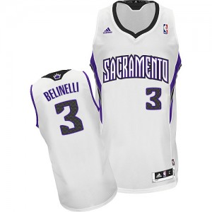 Maillot NBA Sacramento Kings #3 Marco Belinelli Blanc Adidas Swingman Home - Homme