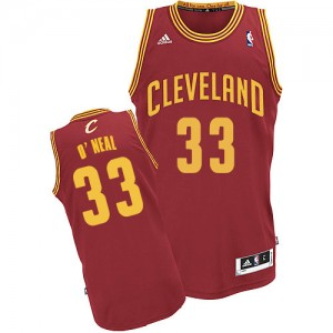 Maillot NBA Cleveland Cavaliers #33 Shaquille O'Neal Vin Rouge Adidas Swingman Road - Homme