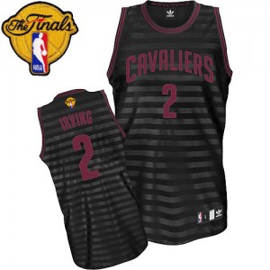 Maillot NBA Authentic Kyrie Irving #2 Cleveland Cavaliers Groove 2015 The Finals Patch Gris noir - Homme